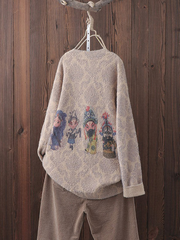 Retro Character Print Knit Sweater