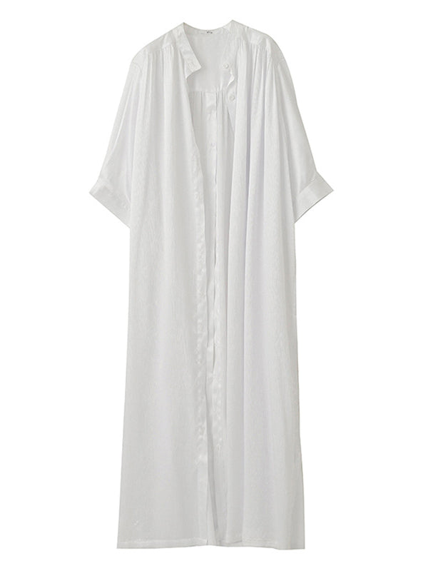 Loose Split-Side Urban Long White Shirt