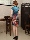 Blue Floral Short Cheongsam Dress