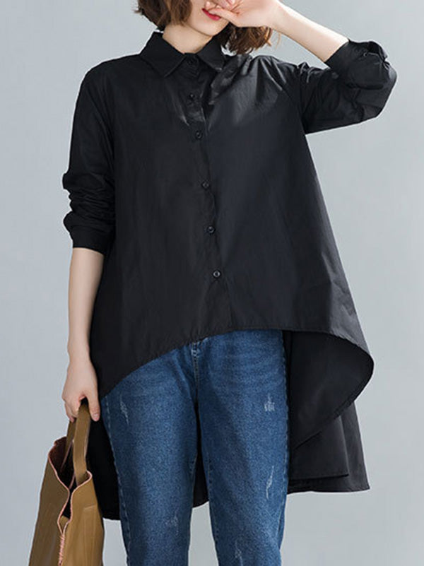 Loose High-Low Cropped Solid Color Shirt