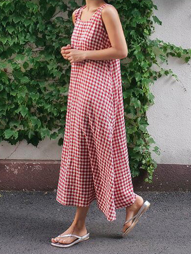 Sleeveless Plaid Loose Plus Size Midi Dresses