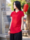 Vintage Red Ramie Cotton T-shirt
