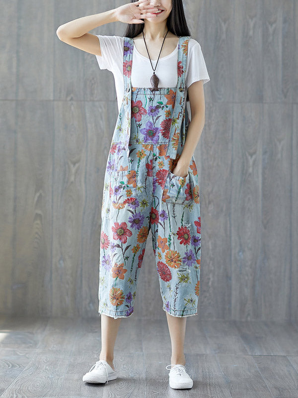 Oversize Printed Braces Jean Pants