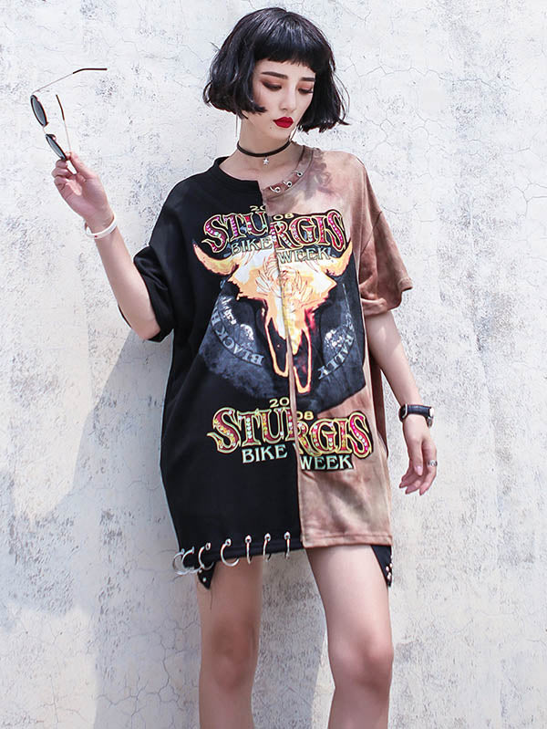 Hip-hop Printed Mini Dress