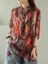 Vintage Floral Three-Quarter Sleeve Stand Collar Shirt