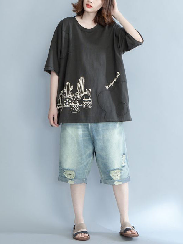 Loose Short Sleeves Printed Plant T-Shirt