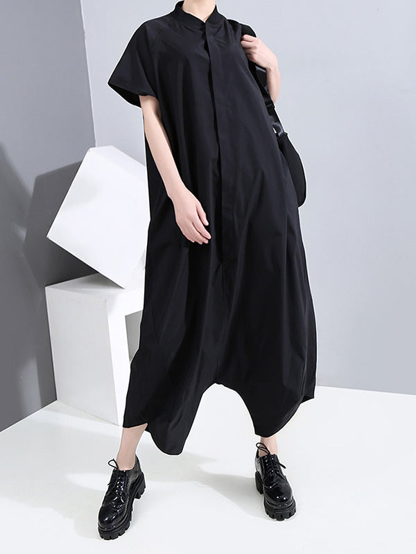 Casual Solid Stand Collar Shirt Jumpsuits