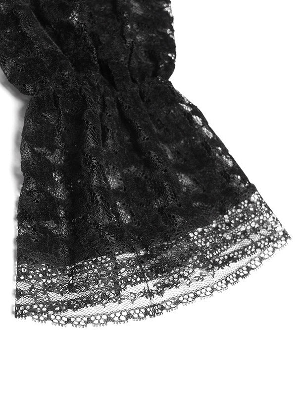 Black A-Line Lace Splicing Midi Dress