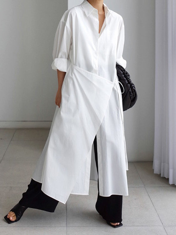 Urban Asymmetric Lapel Long Sleeves Shirt Dress