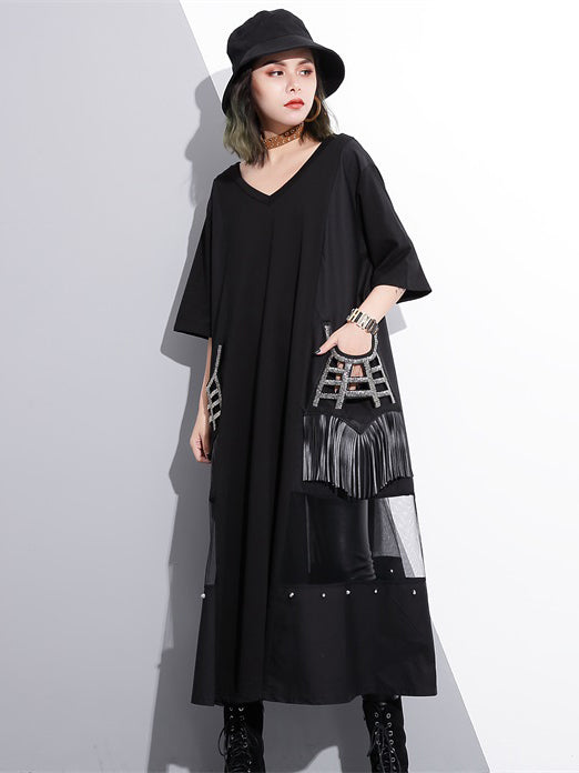 V-neck Split-joint Tasseled Shirt Midi Dresses