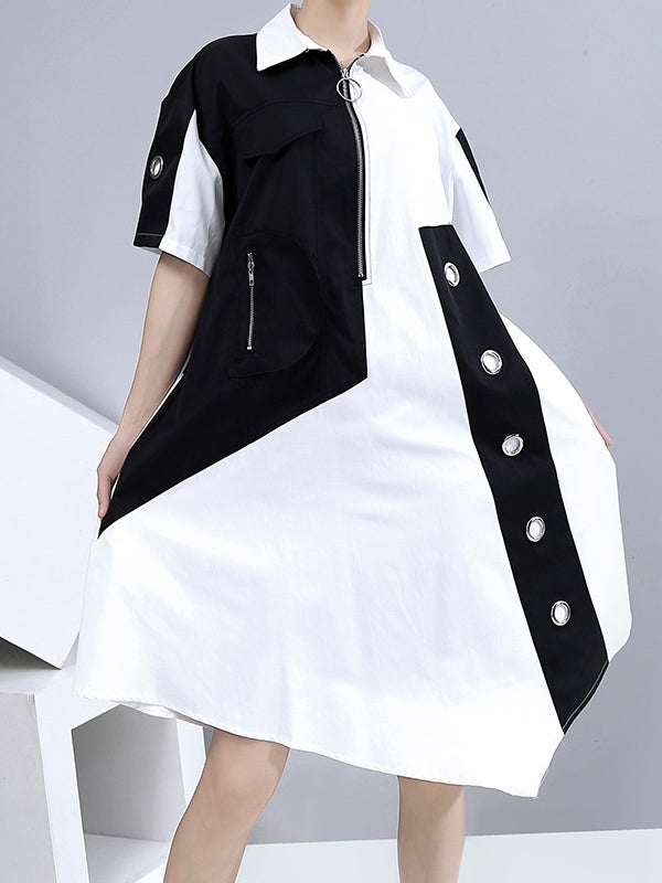 Fashion Split-Joint Irregularity Lapel Shirt Dress