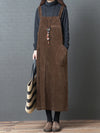 Casual Corduroy Long Suspender Skirt