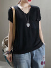Loose Solid Color V-Neck T-Shirt