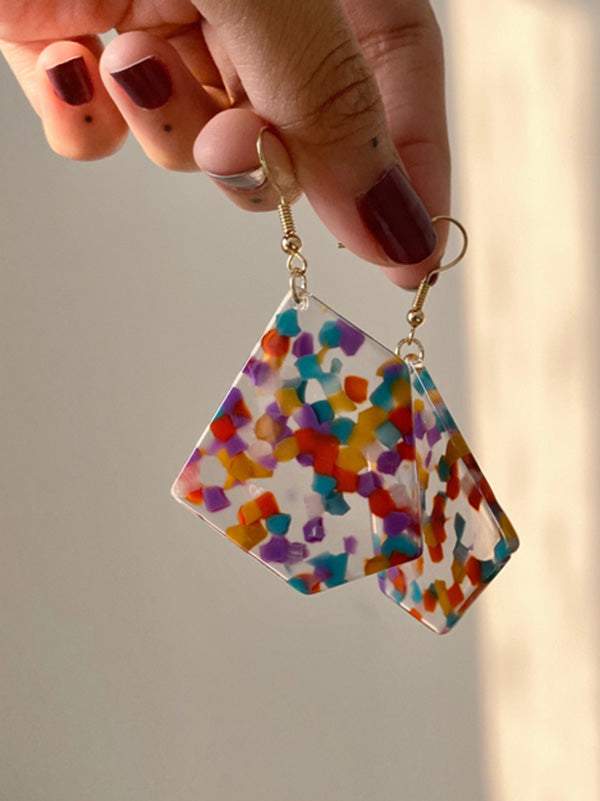 Irregular Vintage Colorful Pendent Earrings