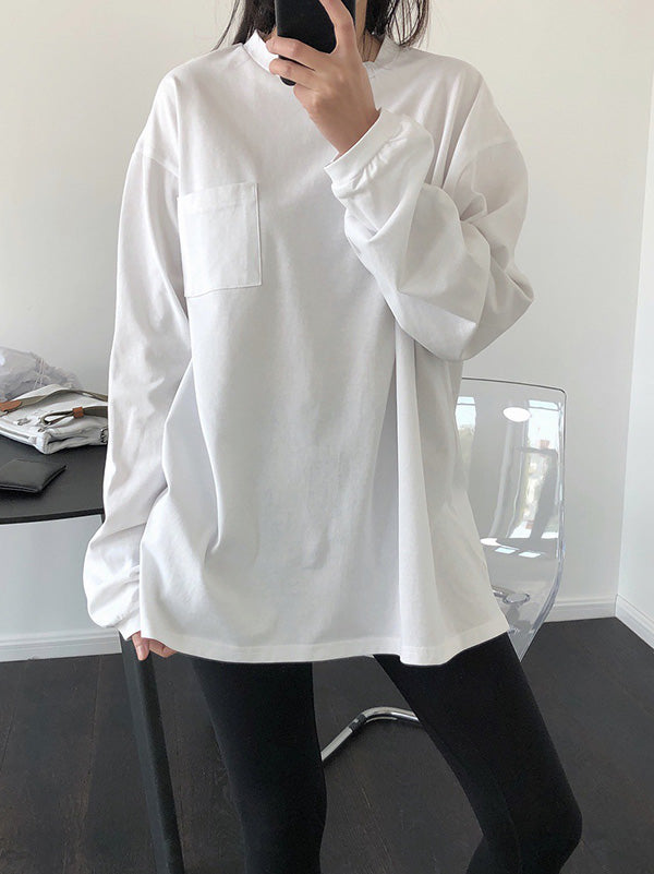 Solid Casual Round Neck Pocket T-Shirt