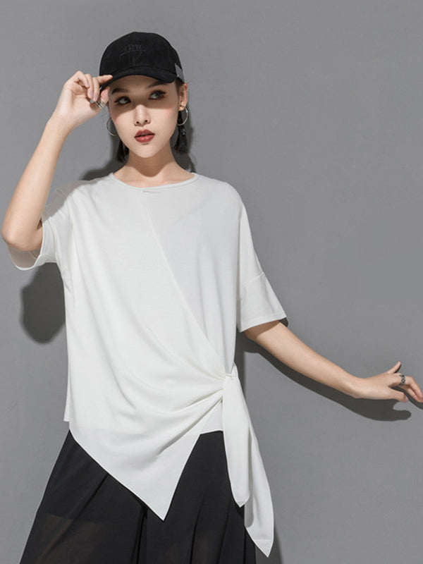 Original Irregularity Split-Joint Solid T-Shirts Tops
