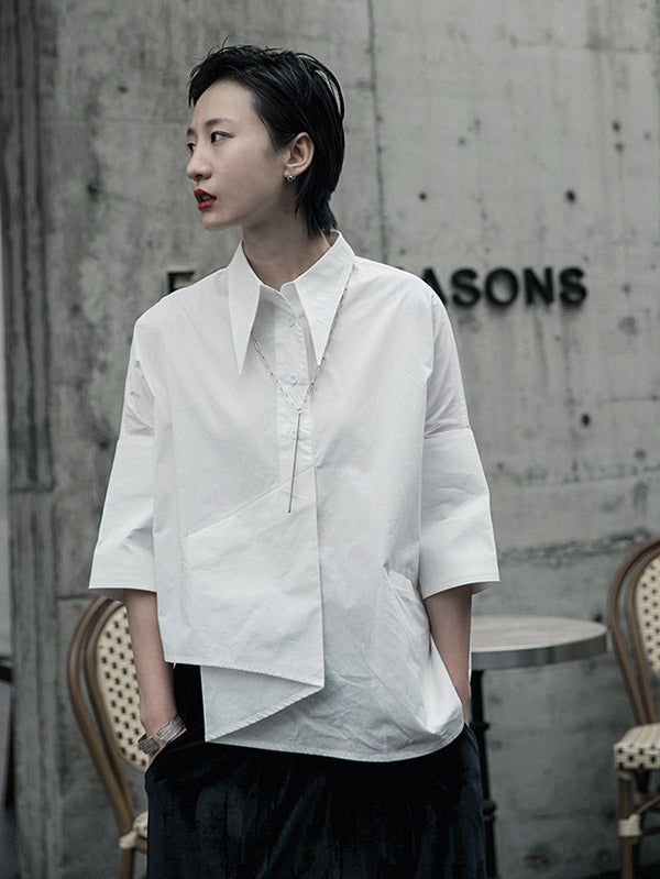 Creamy White Cropped Three-Quarter Sleeve Shirt