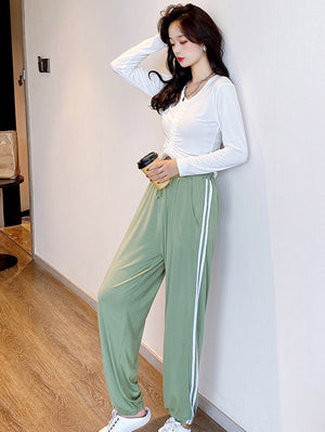 12 Colors Soft Empire Drawstring Elasticity Pants