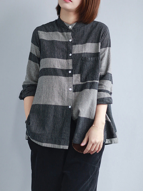 Loose Cropped Plaid Stand Collar Shirt