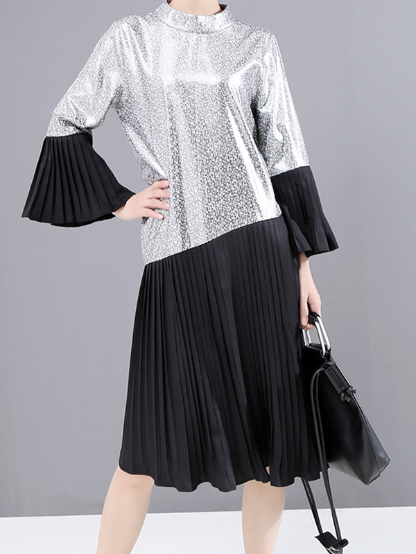 Stand Collar Sequined Splicing Pleat Dress