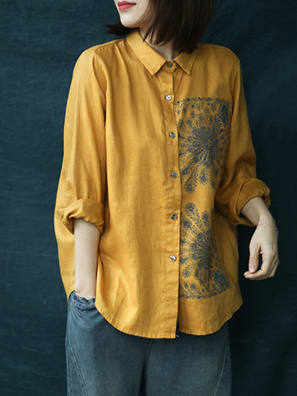 Vintage Ethnic Style Splicing Printed Shirt