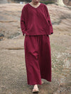 3Color Pure color V-neck Loose Comfortable Suits