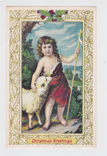 Load image into Gallery viewer, Christmas Greetings Shepherd Boy and Lamb Postcard Vintage Reproduction