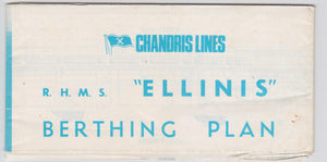 Chandris Lines RHMS Ellinis Berthing Plan Cruise Ship Deck Plans July 1972