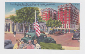 St Petersburg FL Green Benches Open Air Post Office Princess Martha Hotel Postcard 1940's