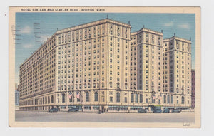 Hotel Statler and Statler Building Boston Massachusetts Postcard 1930's