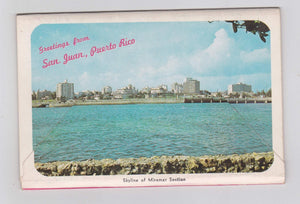 Hello From San Juan Puerto Rico 1960's Postcard Booklet 12 color photo views
