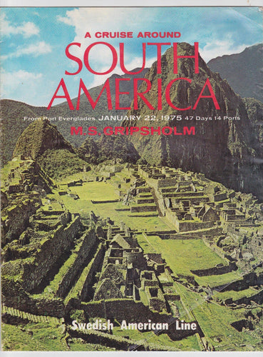 Swedish American Line M.S. Gripsholm 1975 Around South America Brochure - TulipStuff