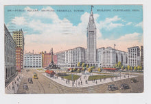 Load image into Gallery viewer, Cleveland Ohio Public Square Showing Terminal Tower Postcard late 1920's