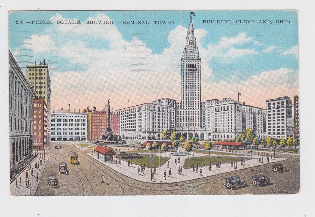 Cleveland Ohio Public Square Showing Terminal Tower Postcard late 1920's