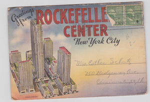 Greetings From Rockefeller Center New York City 1940's Linen Postcard Booklet 18 Views