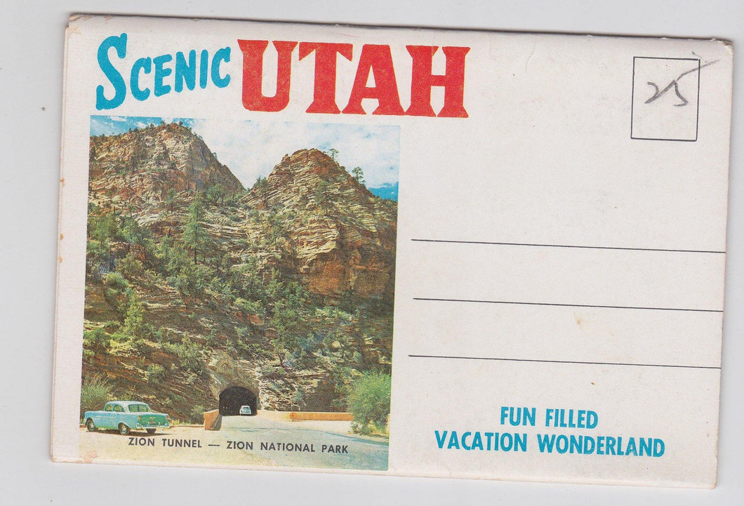 Scenic Utah Fun Filled Vacation Wonderland Early 1960's Postcard Booklet 12 Color Views