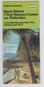 Holland America Cruises ss Rotterdam 1973 Nassau Cruises from New York Brochure - TulipStuff
