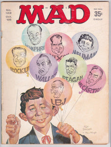 Mad Magazine 122 October 1968 Presidential Election Satire Nixon Wallace LBJ Reagan Humphrey Rockefeller