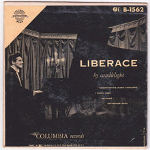 "Load image into Gallery viewer, Liberace by Candlelight 7"" 45rpm Vinyl Record 1953 Columbia Extended Play - TulipStuff"