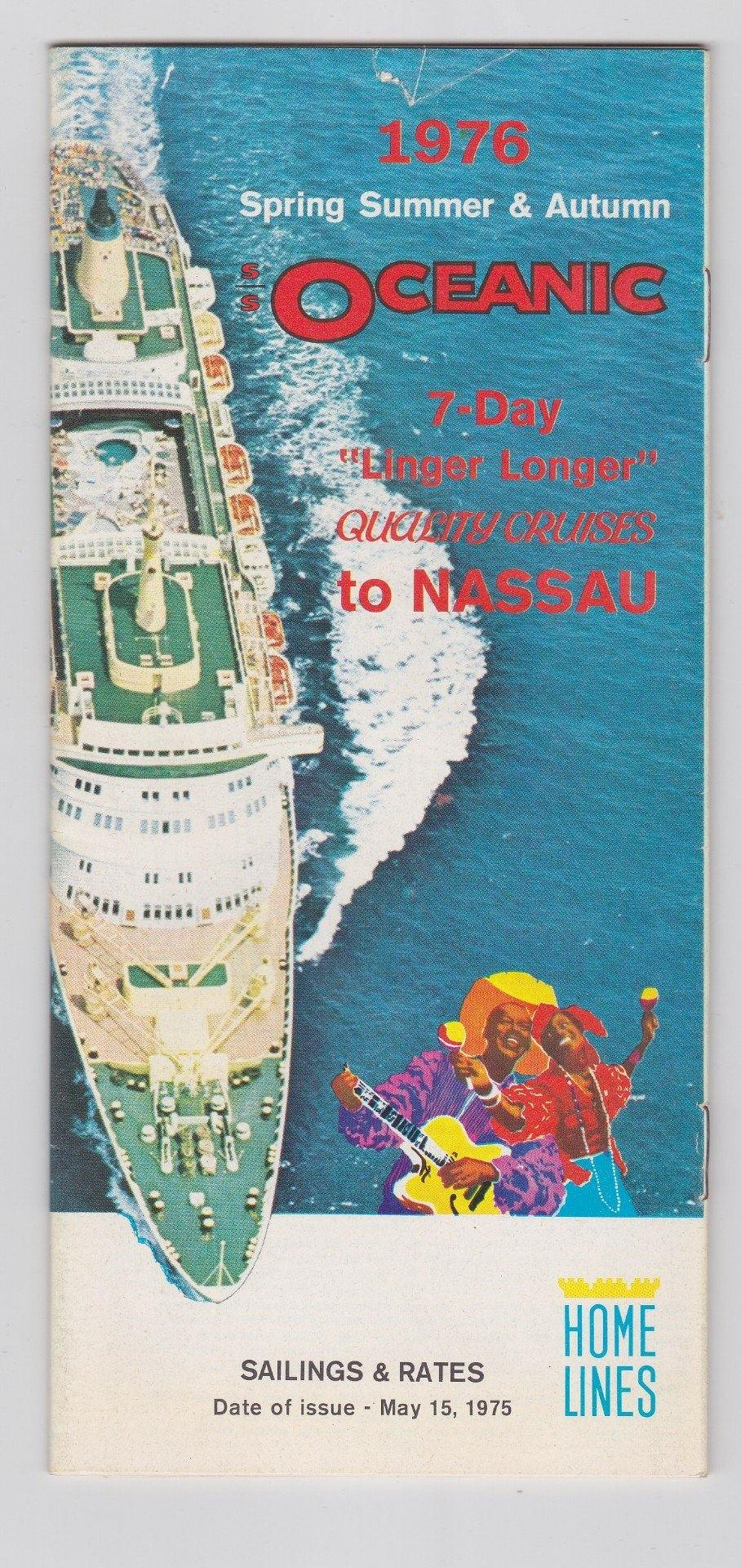 Home Lines ss Oceanic 1976 Nassau Cruises Brochure