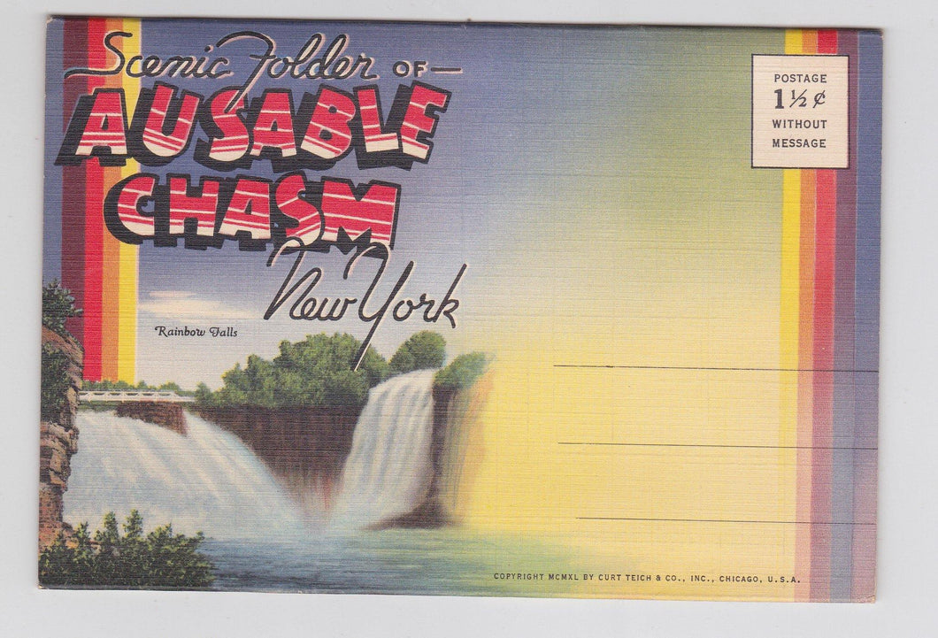 Ausable Chasm New York Postcard Booklet 1940 with 18 Views