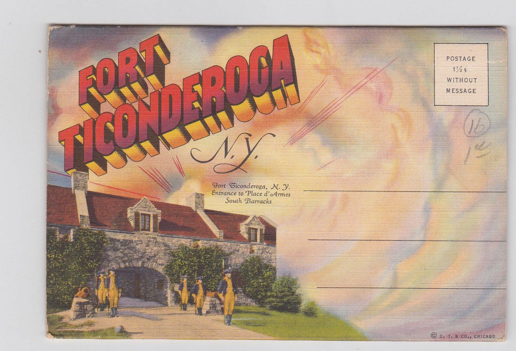 Fort Ticonderoga New York Linen Postcard Booklet 16 Views 1940's