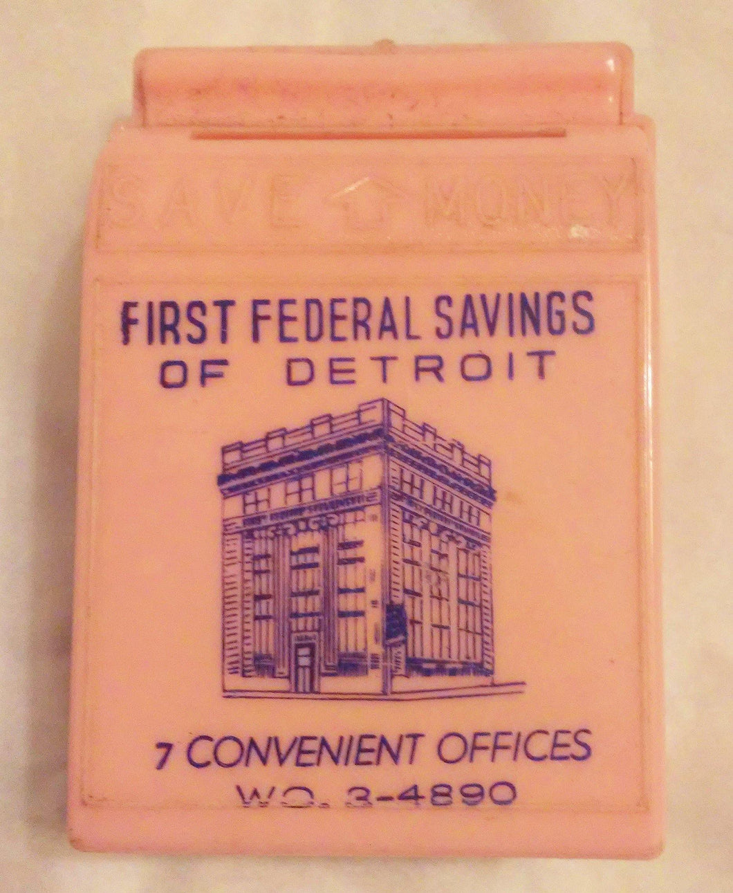 First Federal Savings of Detroit Vintage 1950's Pink Child's Bank