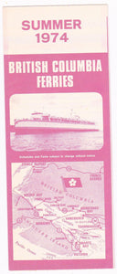 British Columbia Ferries Summer 1974 Schedules and Fares Timetable Brochure Canada