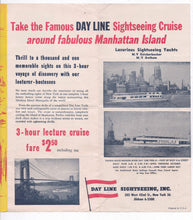 Load image into Gallery viewer, Hudson River Day Line New York Lecture Cruise 1950's Brochure Miss Day Line