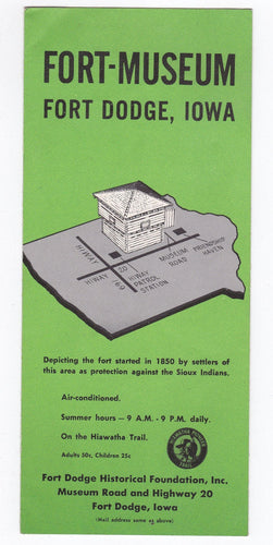 Fort-Museum Fort Dodge Iowa 1962 Brochure - TulipStuff