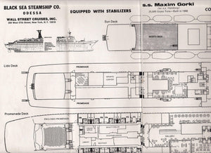 Black Sea Steamship ss Maxim Gorki 1974 Deck Plans Cruise Brochure Soviet Cruise Ship ex Hamburg - TulipStuff