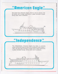 American Cruise Lines 1976 American Eagle Independence Cruise Brochure Haddam Ct East Coast Cruises