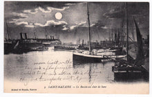 Load image into Gallery viewer, Saint-Nazaire Le Bassin au claire de lune 1910's Harbor Ships French Antique Postcard - TulipStuff