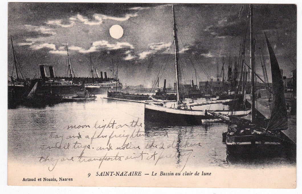 Saint-Nazaire Le Bassin au claire de lune 1910's Harbor Ships French Antique Postcard - TulipStuff